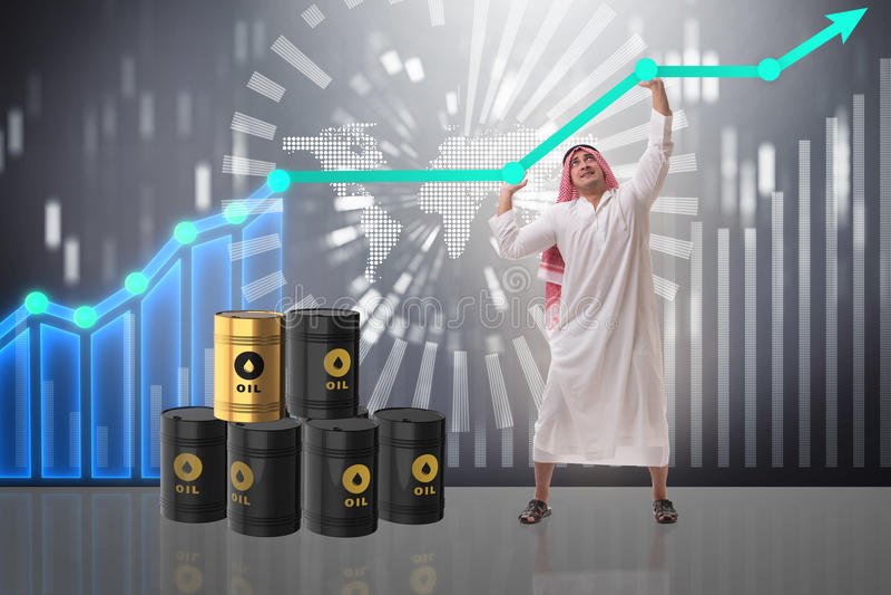 Den arabiska affärsmannen i oljeprisaffärsidé stock illustrationer