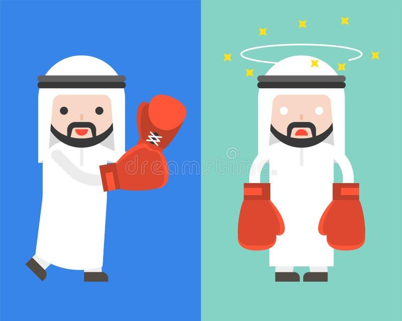 Den arabiska affärsmannen med boxninghandskar och att starta kamp och förvirrar, r vektor illustrationer