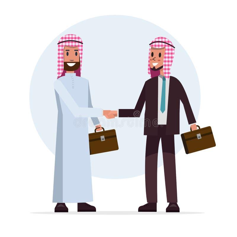 Den arabiska affärsmanskakahanden för samarbete med partnern stock illustrationer
