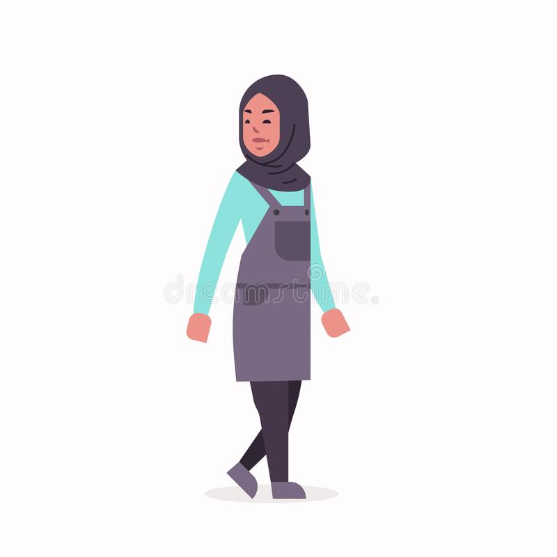 Den arabiska kvinnan i anseende f?r kl?der f?r sjalett f?r arabisk flicka f?r hijab b?rande traditionellt poserar det arabiska kv stock illustrationer