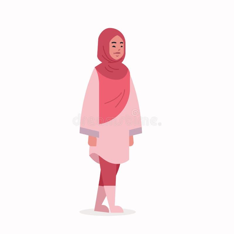 Den arabiska kvinnan i anseende f?r kl?der f?r sjalett f?r arabisk flicka f?r hijab b?rande traditionellt poserar det arabiska kv vektor illustrationer
