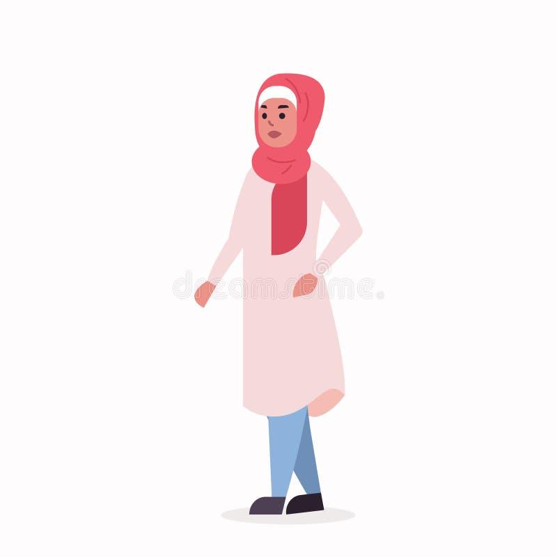 Den arabiska kvinnan i anseende f?r kl?der f?r sjalett f?r arabisk flicka f?r hijab b?rande traditionellt poserar det arabiska kv royaltyfri illustrationer