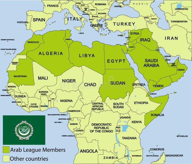 Den arabiska ligan kartlägger och omgivning stock illustrationer