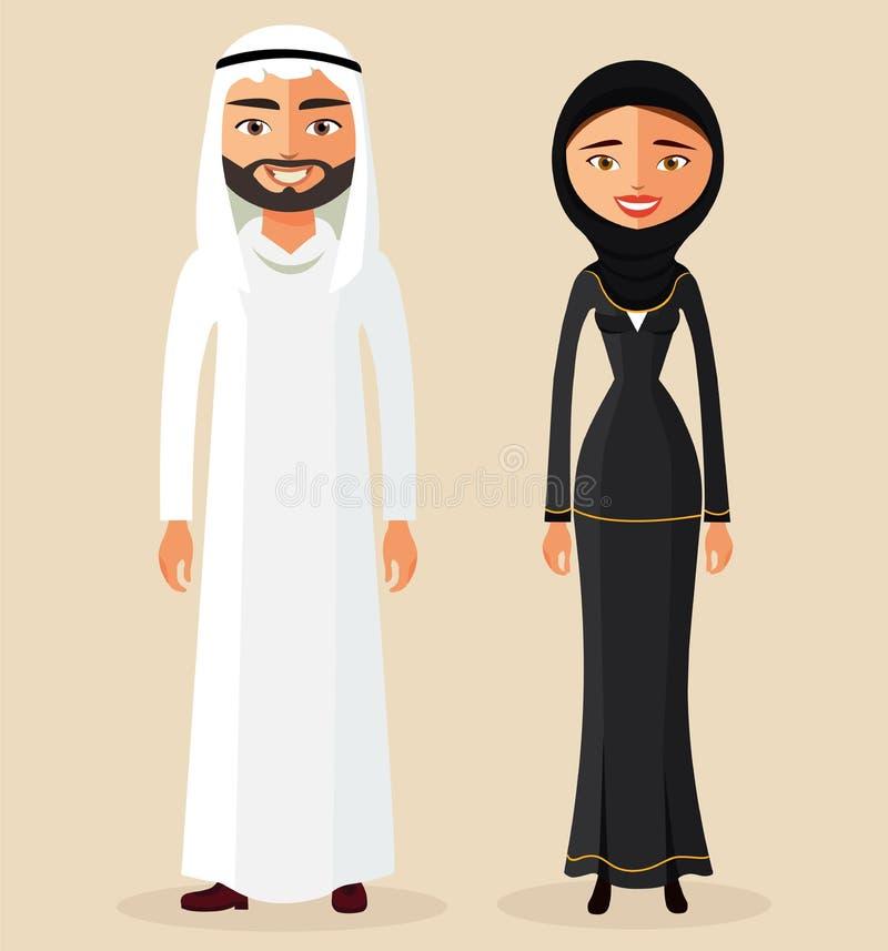 Den arabiska manman- och kvinnakvinnlign i traditionell nationell kläder klär tillsammans dräkten Par vektor royaltyfri illustrationer