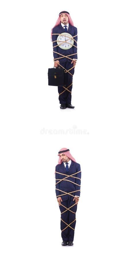 Den arabiska mannen i begrepp för tidledning royaltyfri fotografi