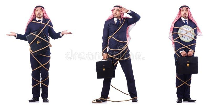 Den arabiska mannen i begrepp för tidledning arkivfoton