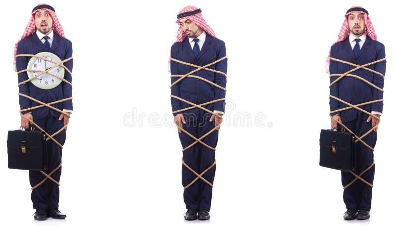 Den arabiska mannen i begrepp för tidledning royaltyfria bilder