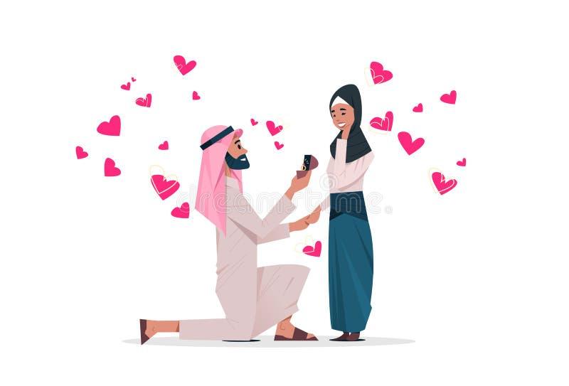 Den arabiska mannen som knäfaller rymma förlovningsringen som föreslår den arabiska kvinnan, att gifta sig honom förälskade lyckl royaltyfri illustrationer