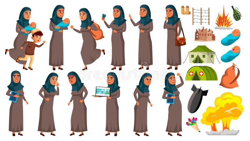 Den arabiska muslimska tonåriga flickan poserar den fastställda vektorn Flyktingen krig, bombarderar, explosionen, nöd för rengör royaltyfri illustrationer