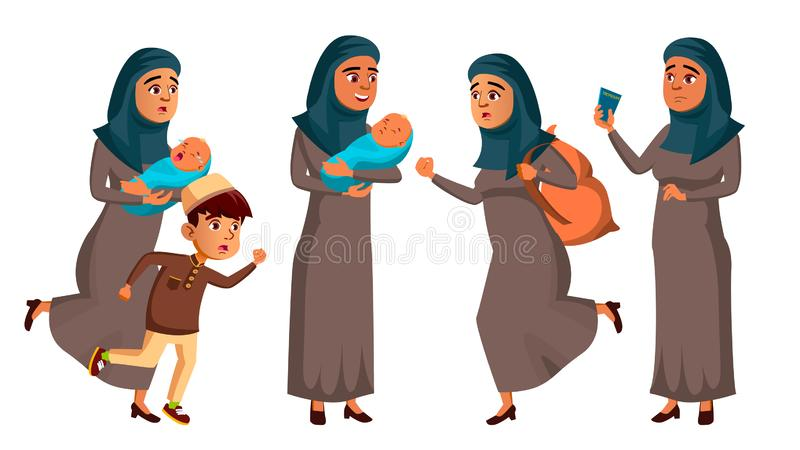 Den arabiska muslimska tonåriga flickan poserar den fastställda vektorn Flyktingen krig, bombarderar, explosionen, nöd Isolerad t vektor illustrationer