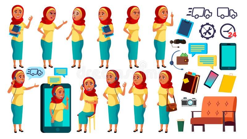 Den arabiska muslimska tonåriga flickan poserar den fastställda vektorn Vänskapsmatch jubel Online-hjälpreda, konsulent För baner stock illustrationer