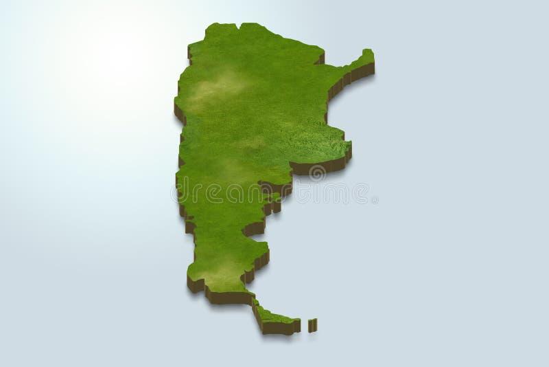 Den Argentina översikten är grön på en blå bakgrund 3d stock illustrationer
