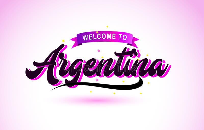 Den Argentina välkomnandet till den handskrivna stilsorten för idérik text med purpurfärgade rosa färger planlägger stock illustrationer