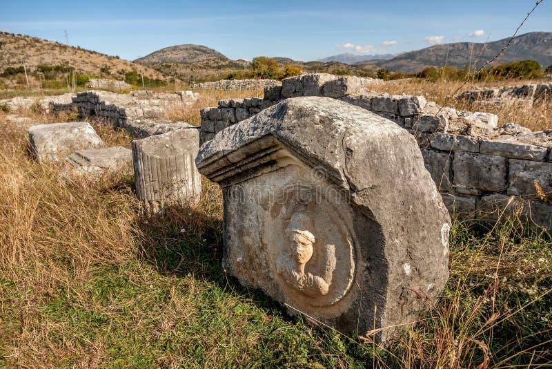 Den arkeologiska platsen i staden Roman och Byzantine, Duklja, nära Podgorica, Montenegro royaltyfri foto