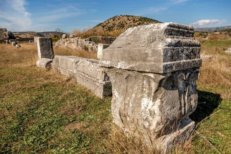 Den arkeologiska platsen i staden Roman och Byzantine, Duklja, nära Podgorica, Montenegro royaltyfria bilder