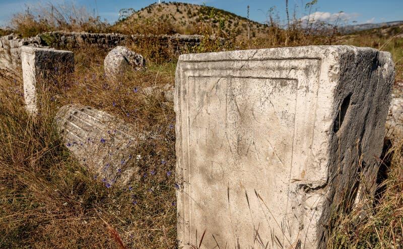 Den arkeologiska platsen i staden Roman och Byzantine, Duklja, nära Podgorica, Montenegro royaltyfri bild