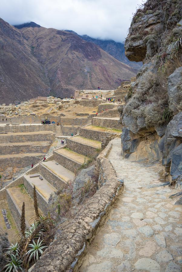 Den arkeologiska platsen på Ollantaytambo, Incastad av den sakrala dalen, ha som huvudämne loppdestinationen i den Cusco regionen arkivfoton
