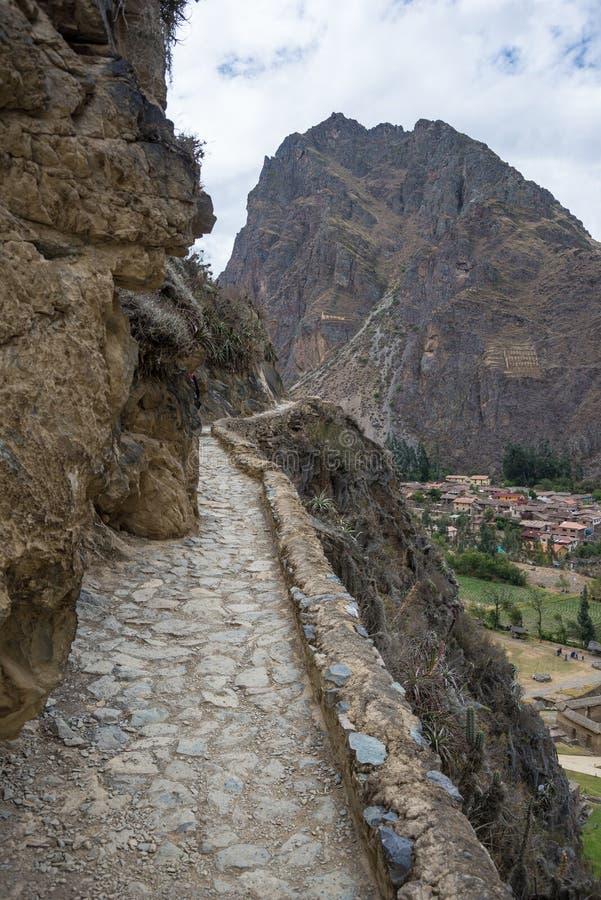 Den arkeologiska platsen på Ollantaytambo, Incastad av den sakrala dalen, ha som huvudämne loppdestinationen i den Cusco regionen arkivbild