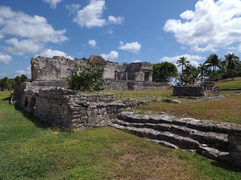 Den arkeologiskt platsen och forntida fördärvar av den steniga mayan templet på den TULUM staden på Mexico på gräs- fält royaltyfri foto