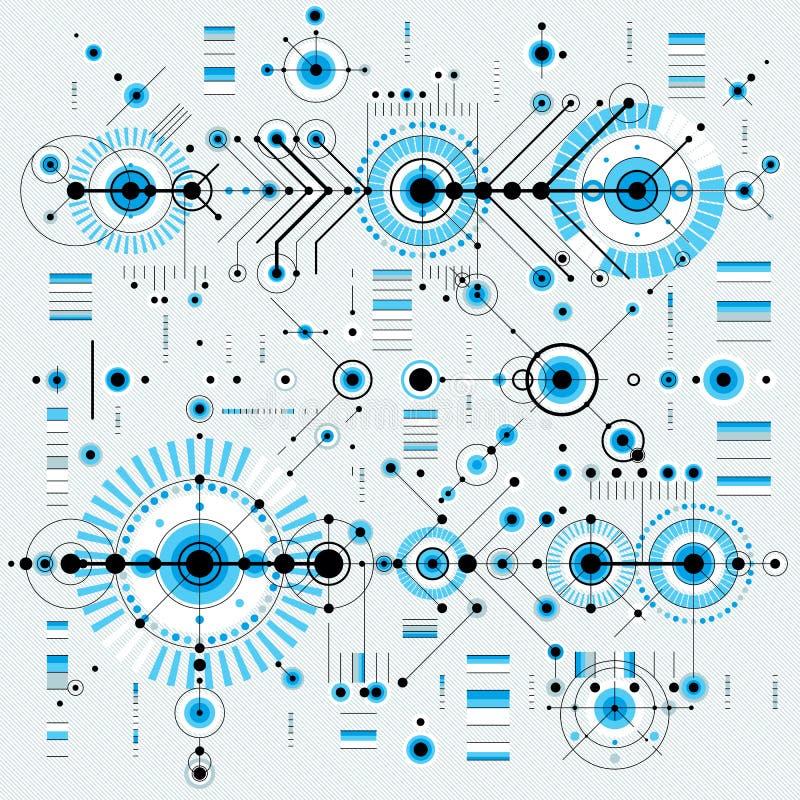 Den arkitektoniska ritningen, digital bakgrund för vektor med differen royaltyfri illustrationer