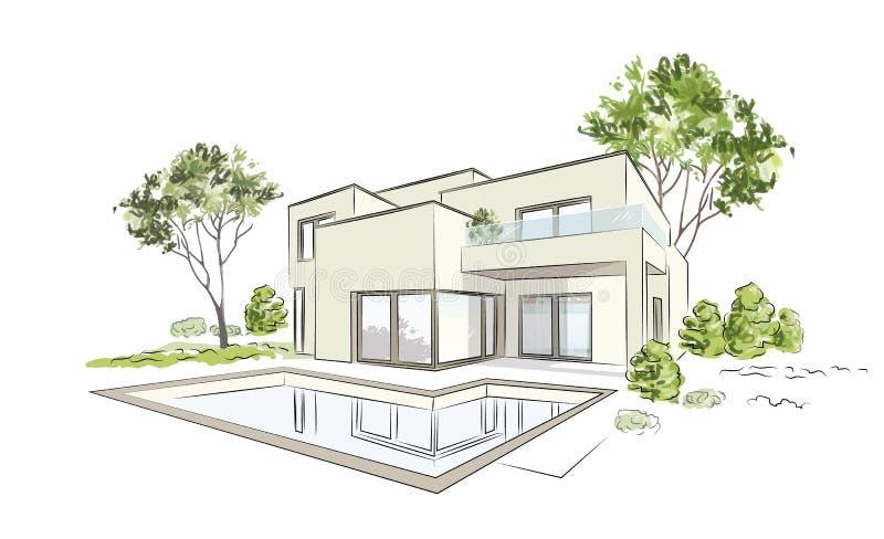 Den arkitektoniska vektorn skissar det moderna exklusiva huset royaltyfri illustrationer