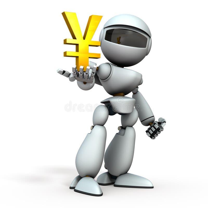 Den artificiella underrättelseroboten har en valutasymbol i handen Det representerar ekonomisk kontroll Vit bakgrund 3D stock illustrationer