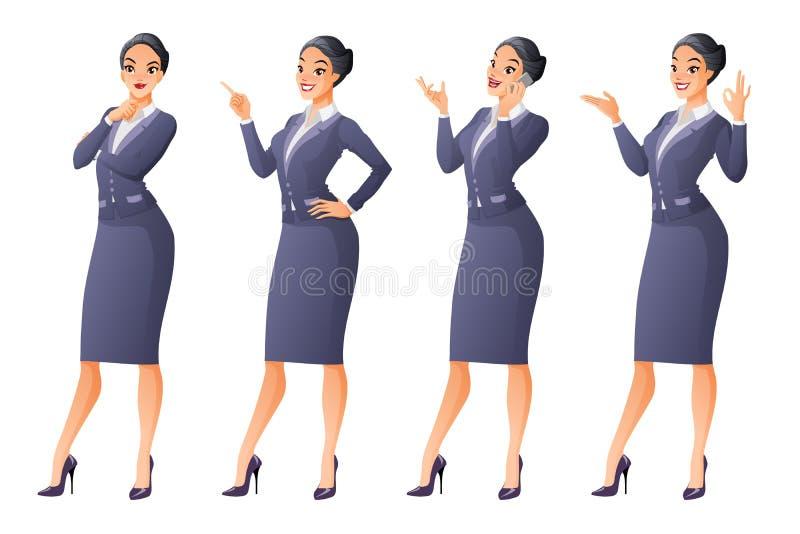 Den asiatiska affärskvinnan i olikt poserar vektor för set för tecknad filmhjärtor polar vektor illustrationer