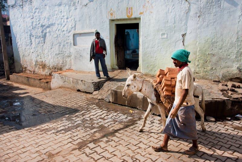 Den asiatiska arbetaren leder en åsna laden med tegelstenar royaltyfri fotografi