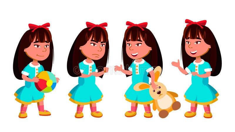 Den asiatiska flickadagisungen poserar den fastställda vektorn Förträning barndom leende toys För rengöringsduk affisch, häftedes royaltyfri illustrationer