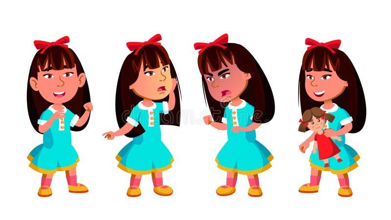 Den asiatiska flickadagisungen poserar den fastställda vektorn förträning Ung positiv person _ För baner reklamblad, broschyr royaltyfri illustrationer