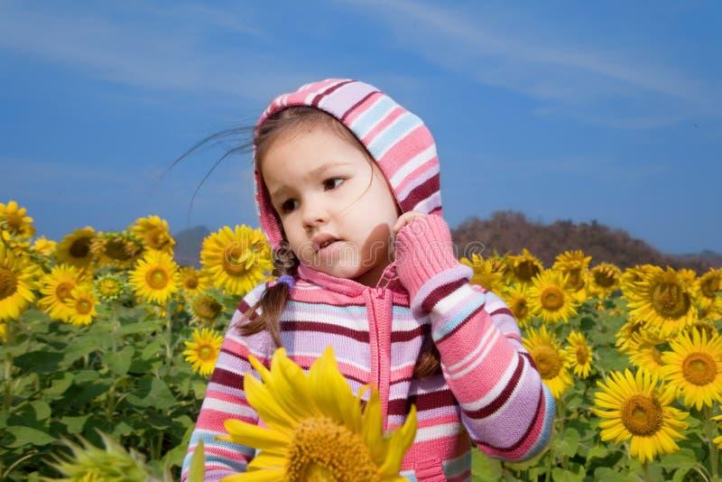 Den asiatiska flickan går i ett fält av solrosor royaltyfri bild