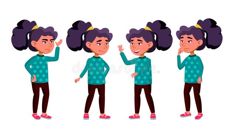 Den asiatiska flickaungen poserar den fastställda vektorn Grundskola för barn mellan 5 och 11 årbarn Barn elev Aktiv glädje, frit stock illustrationer