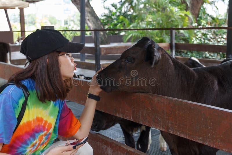 Den asiatiska härliga kvinnan är kyssen som förälskelse för behandla som ett barn kon arkivbild