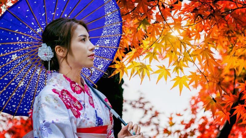 Den asiatiska kvinnan som bär den japanska traditionella kimonot med paraplyet i höst, parkerar Japa royaltyfri bild