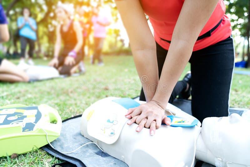 Den asiatiska kvinnlig eller löparekvinnan som utbildar CPR som visar grupp parkerar in, vid satta händer, och säkerthetsbrytarfi royaltyfri fotografi