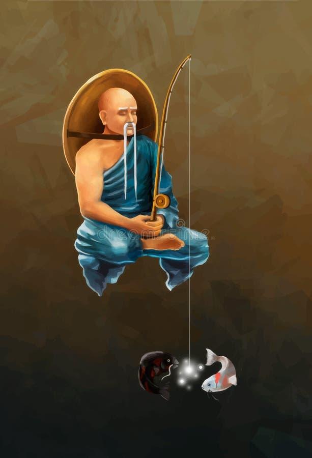 Den asiatiska munken med metspöet fångar koikarpar, begreppsmässig illustration stock illustrationer