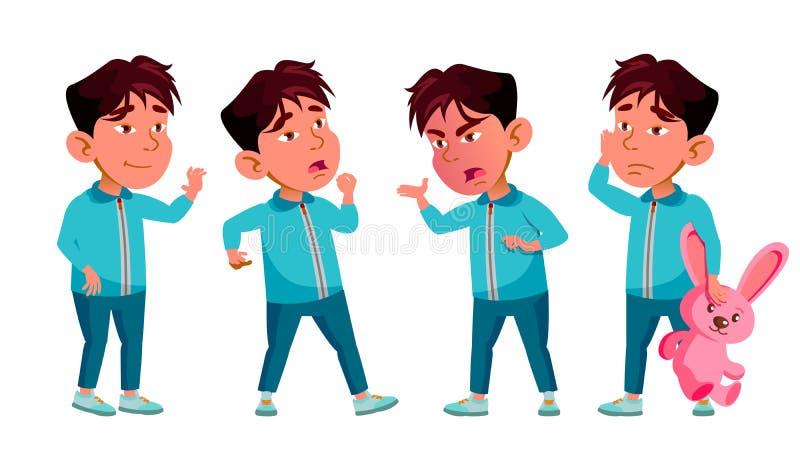 Den asiatiska pojkedagisungen poserar den fastställda vektorn Behandla som ett barn uttryckt preschooler För kort annonsering som stock illustrationer