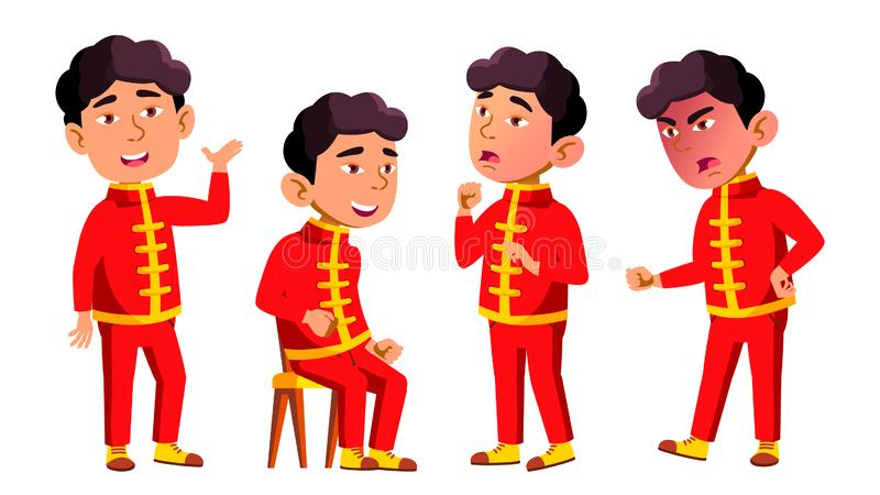 Den asiatiska pojkedagisungen poserar den fastställda vektorn Festival drake Unge barnuttryck junior För vykort räkning stock illustrationer