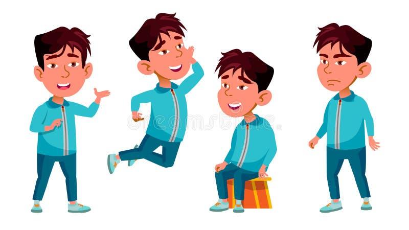 Den asiatiska pojkedagisungen poserar den fastställda vektorn Den nätta realiteten behandla som ett barn fritid För vykort meddel stock illustrationer