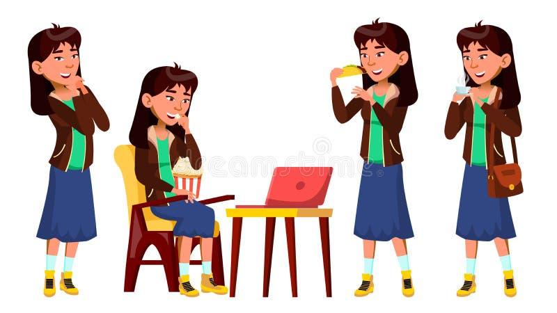 Den asiatiska tonåriga flickan poserar den fastställda vektorn Hållande ögonen på film som äter, förälskelse, liv blå skirt För p stock illustrationer