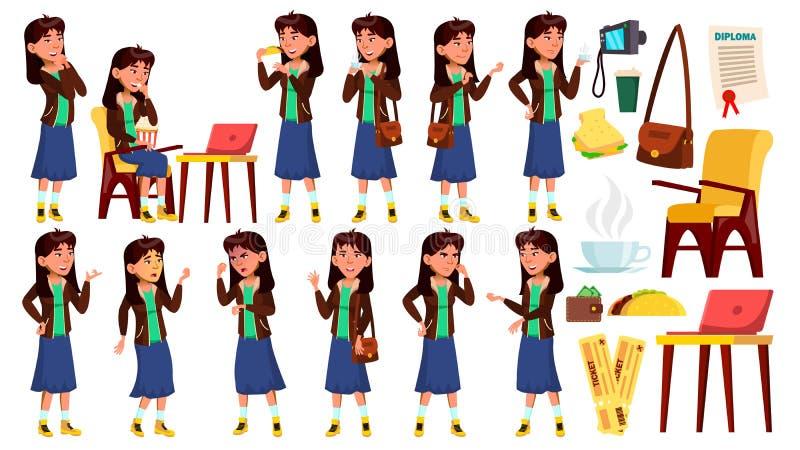 Den asiatiska tonåriga flickan poserar den fastställda vektorn Posera, emotionellt blå skirt För annonsering plakat, tryckdesign  royaltyfri illustrationer
