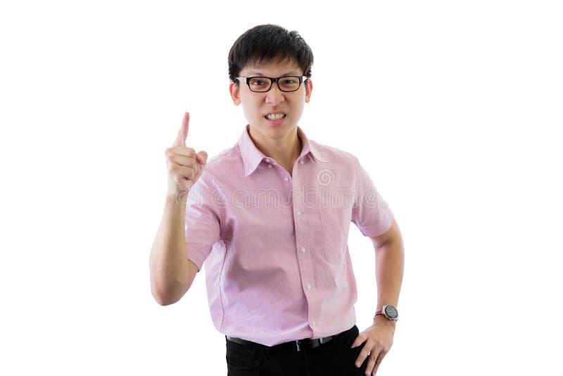 Den asiatiska unga affärsmannen har anseende med rubbning på isolerat på vit bakgrund royaltyfria bilder