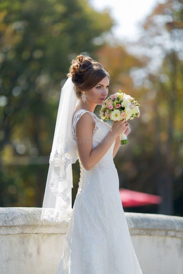 Den attraktiva bruden parkerar in royaltyfri foto