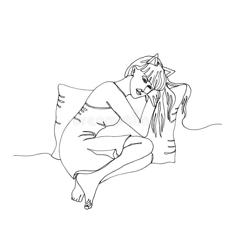 Den attraktiva flickan sitter med en kudde, linjen konst, den enkla linjen teckning för penna en för handen den utdragna royaltyfri illustrationer
