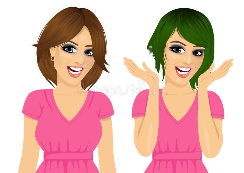 Den attraktiva le kvinnan med olika frisyrer och hår färgar stock illustrationer