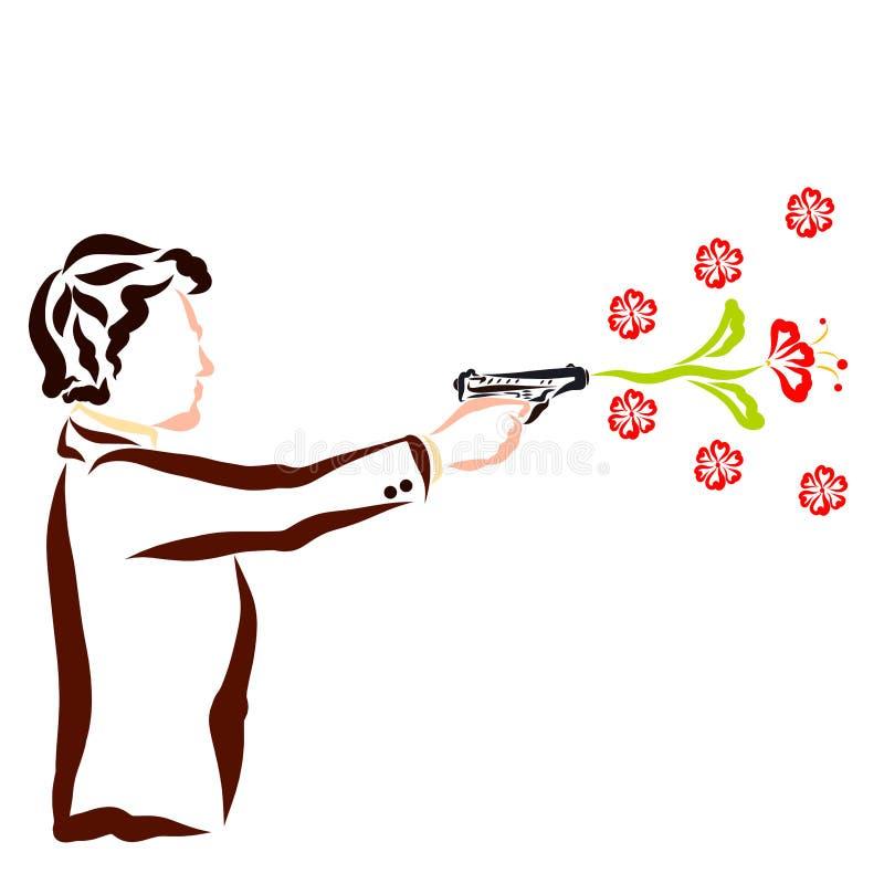 Den attraktiva mannen skjuter en pistol, blommor, idérik gåva vektor illustrationer