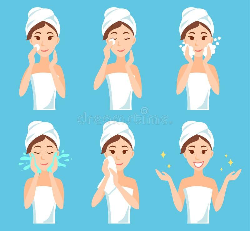 Den attraktiva unga kvinnan med en handduk runt om hennes huvud och kroppen tar bort sminket, rengöringen, wash och att bry sig h vektor illustrationer