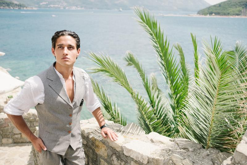 Den attraktiva unga modemannen i en dräkt går runt om den gamla staden och blickarna på havet arkivbild