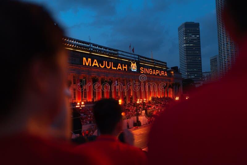 Den 9 augusti 2019, nationaldagsparad i Singapore royaltyfri fotografi