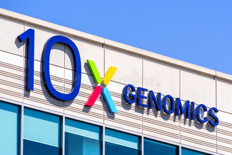 Den 25 augusti 2019, Pleasanton/CA/USA - 10x Genomics-högkvarter i Silicon Valley. 10x Genomics är en amerikansk bioteknik arkivfoton